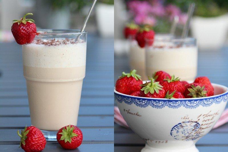 Iskaffe latte og jordbær 1