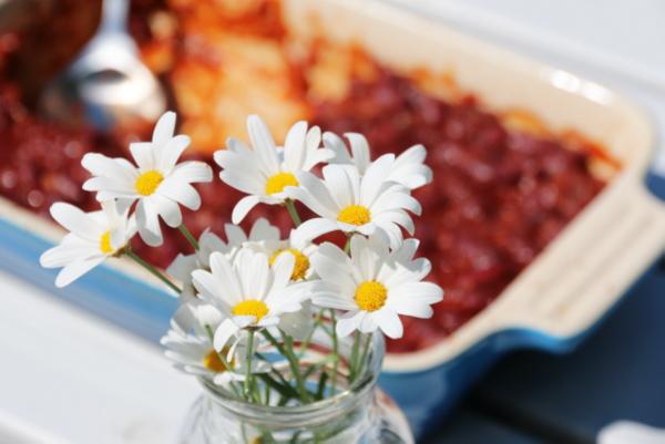 Bakte bønner og blomster