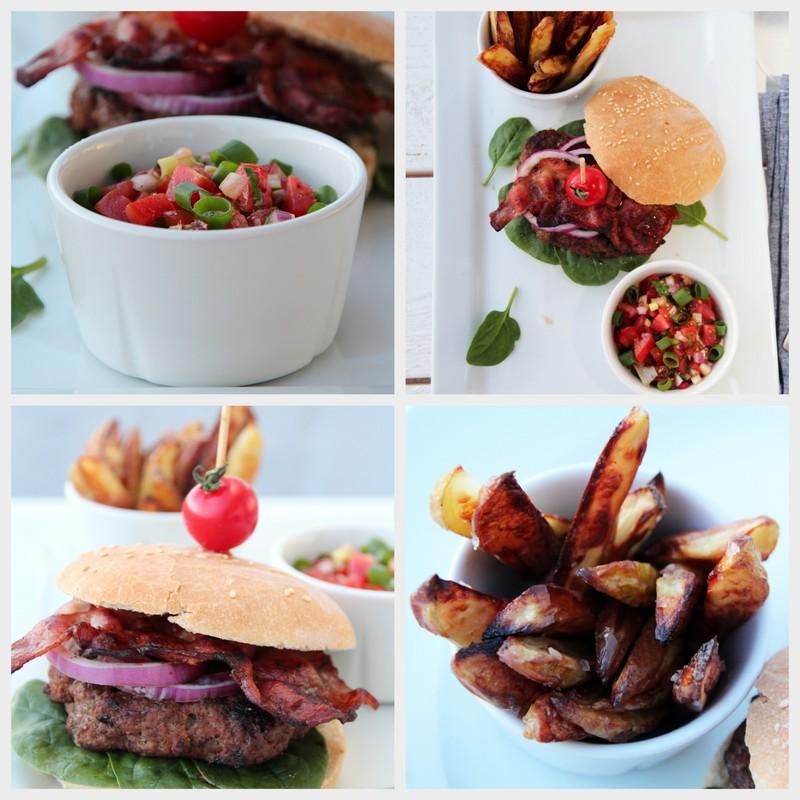 Hamburger med bacon, tomatsalsa og chilikrem