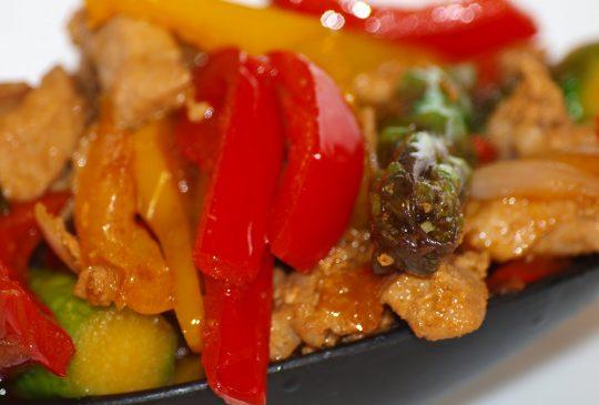 Image: Wok med chilimarinert svinekjøtt