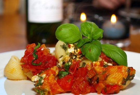 Image: Pastaskjell med ricotta og spinat