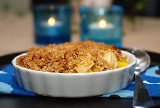 Image: Smuldrepai med mango og eple