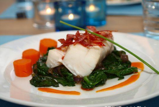 Image: Ovnsbakt torsk med italiensk salami og chiliolje