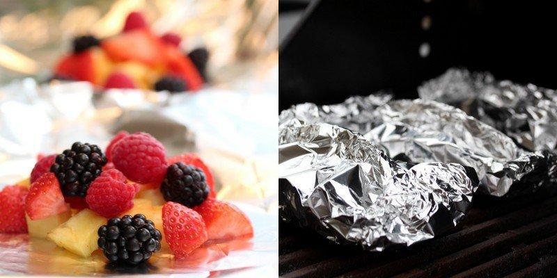 Grillet frukt og bær med vaniljeis