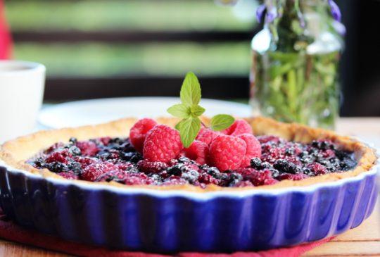 Image: Blåbær- og bringebærterte