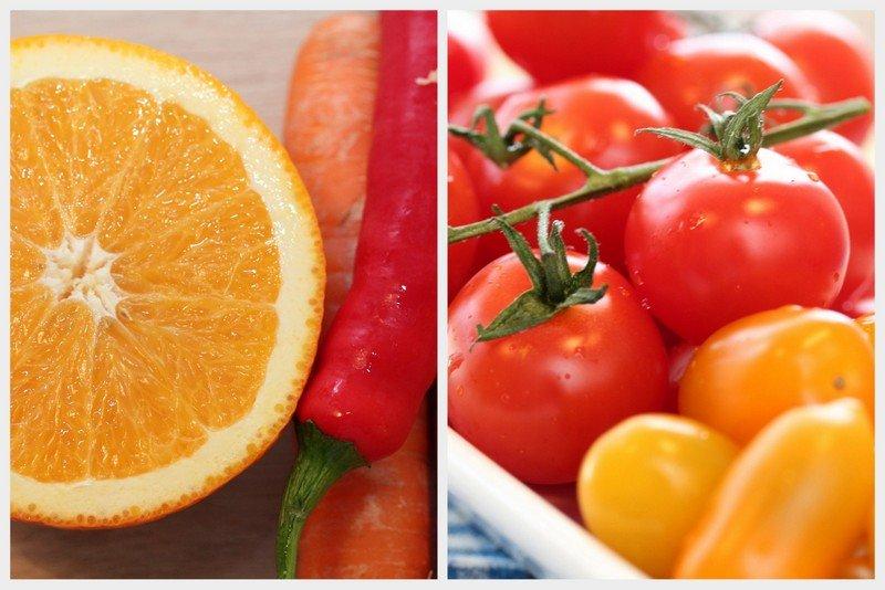 Tomat, gulrot, appelsin og chili