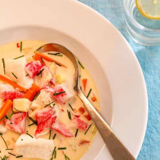 Image: Fiskesuppe med torsk, chili og ingefær