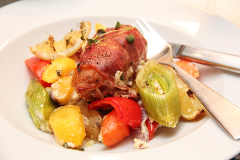 Parmasurret kylling med grønnsaker og sitron