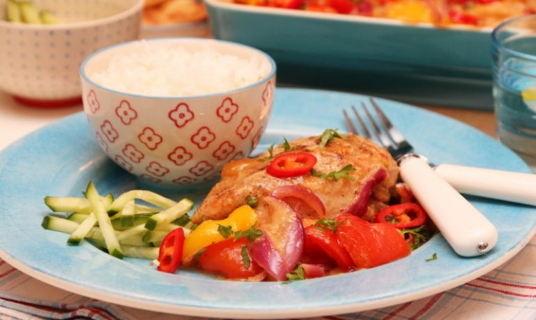 kylling og paprika med hot mangosaus