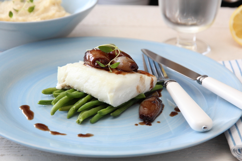 Ovnsbakt torsk med balsamicoløk og sellerirotmos