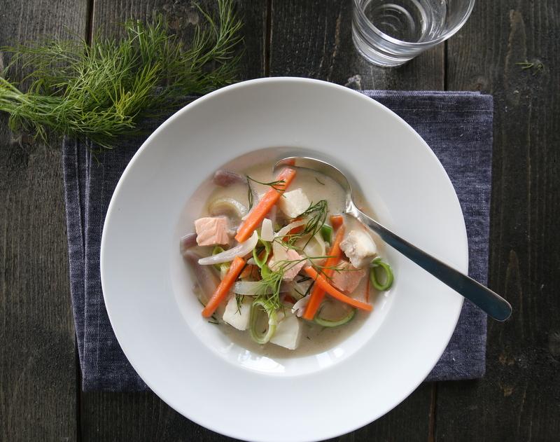 Kremet fiskesuppe med torsk og laks