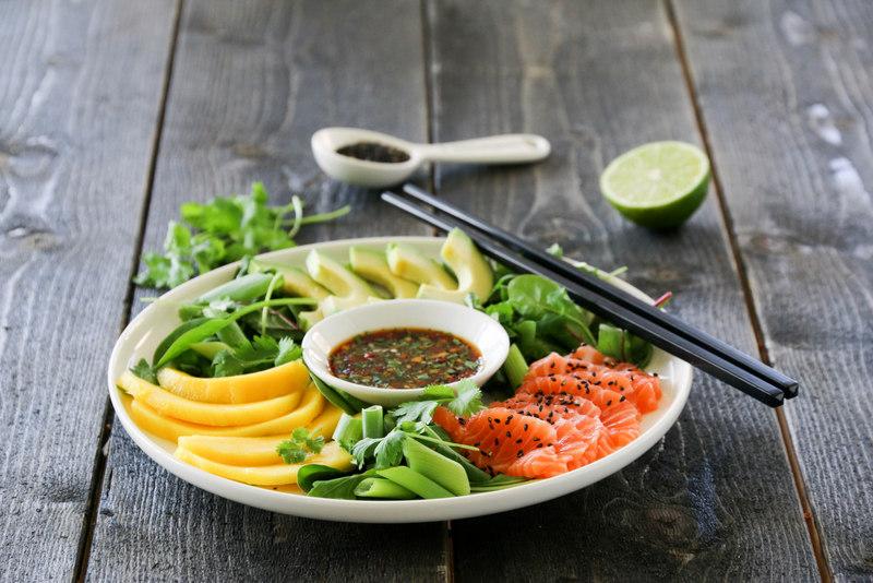 Sashimisalat med laks, mango og avokado