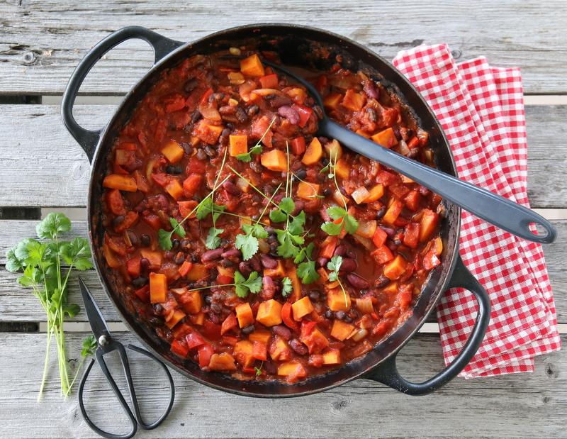 Chili sin carne med søtpotet (chili uten kjøtt)