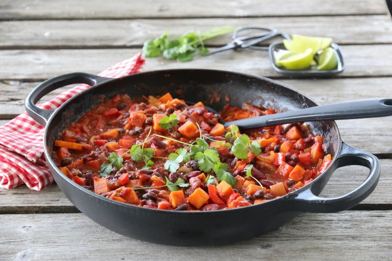 Chili sin carne med søtpotet