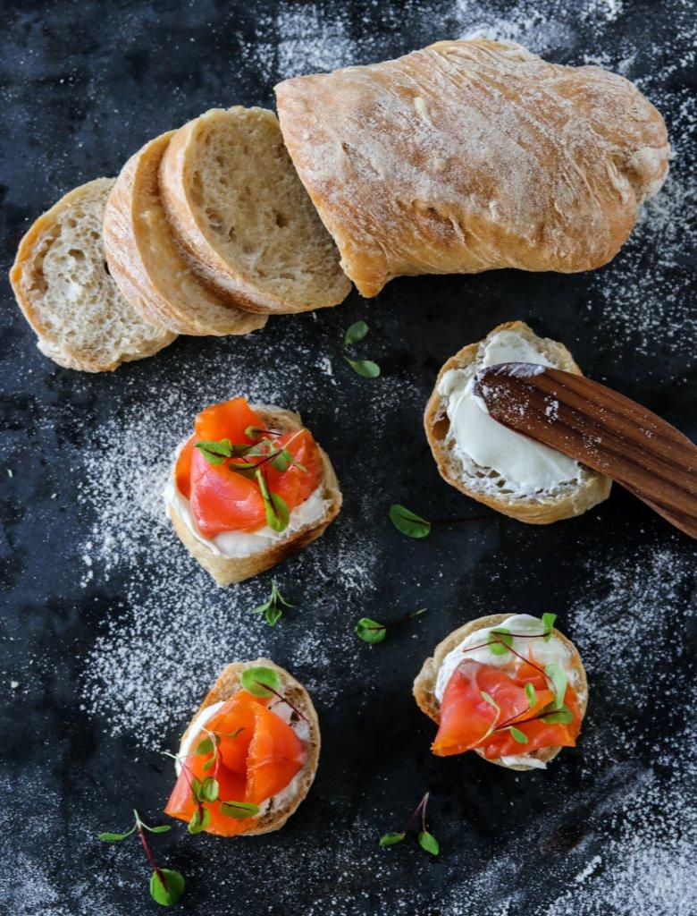 Eltefrie baguetter med røkt laks