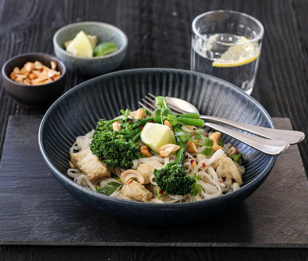 Grønn curry med torsk og brokkolini