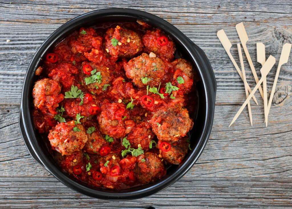 Spanske kjøttboller med spicy tomatsaus
