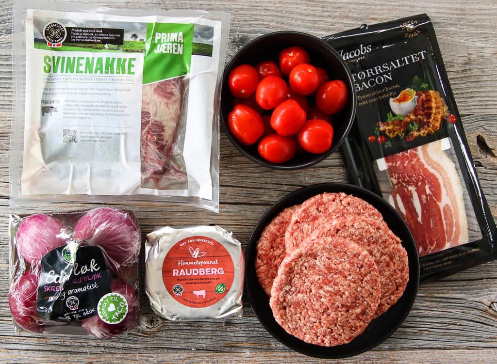 Helgrillet svinenakke med BBQ-saus og ovnsbakt potetsalat